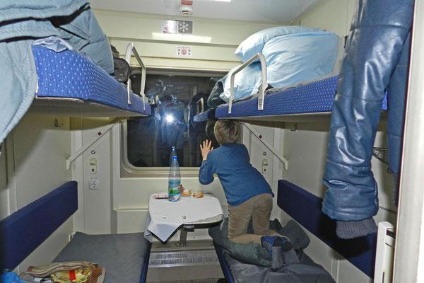 Vierbett-Abteil im RZD-Schlafwagenzug