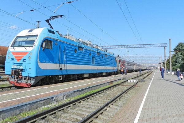 In Beslan ändert der Zug seine Fahrtrichtung.