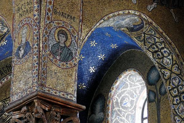 """Griechische Mosaike in der zentralen Kirche der sizilianischen Albaner """"La Martorana"""""""