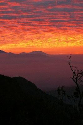 De Bromo vulkaan bij zonsopkomst