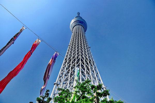 Sky tree in Tokio, de hoogste zendmast ter wereld en het hoogste gebouw van Japan. 634 meter hoog