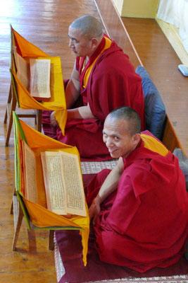 Monniken in het Tsuglagkhang klooster, het klooster vann de Dalai Lama