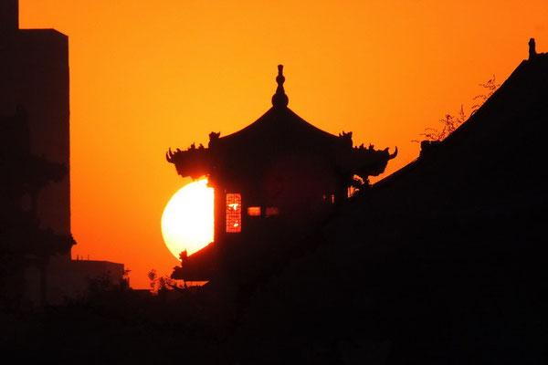 Zonsondergang in Pingyao