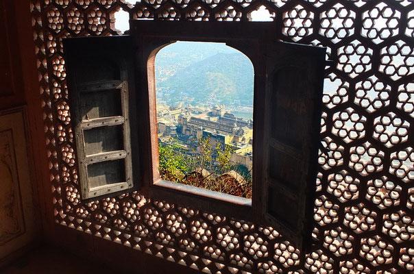 Uitzicht op Amberfort in Agra