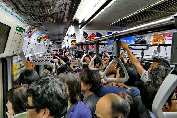 Volle metro in Tokio