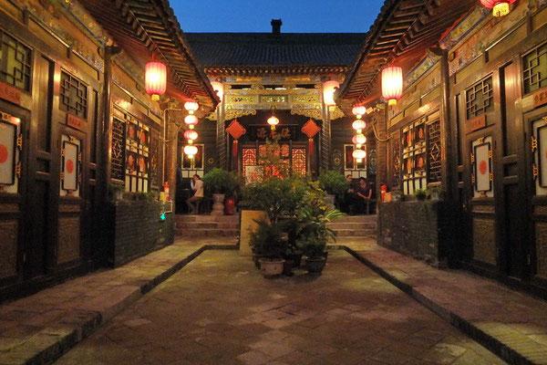 Binnenplaats van het hotel in Pingyao.