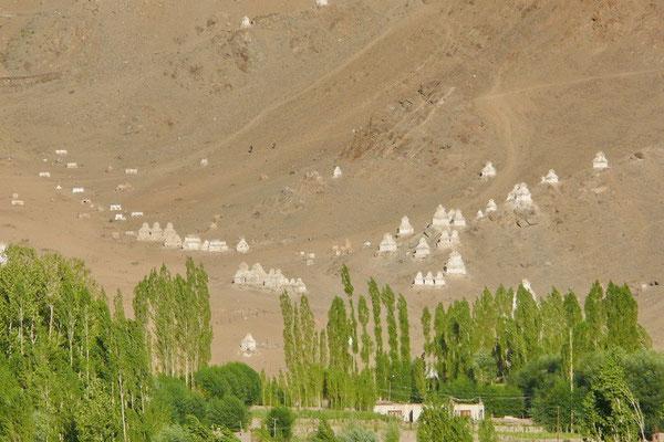 Een vallei met stupa's.