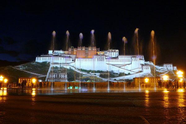 De Potala bij nacht
