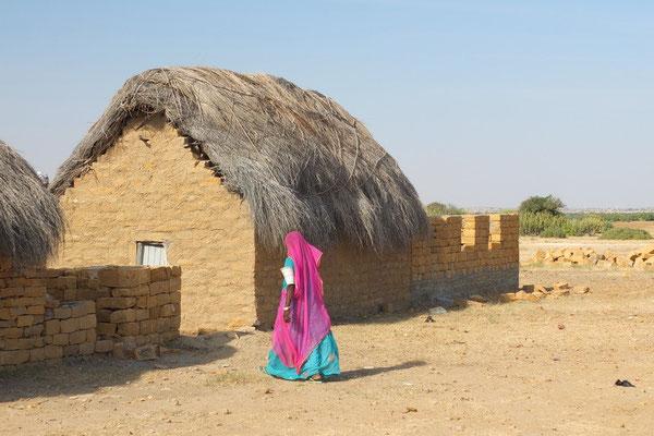 Woestijndorp in de Thar woestijn