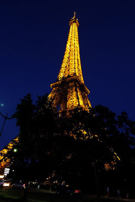 De Eiffeltoren bij nacht