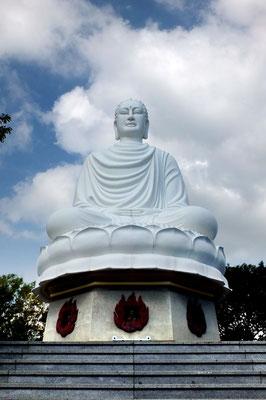 De grote boeddha boven de Long Son pagode