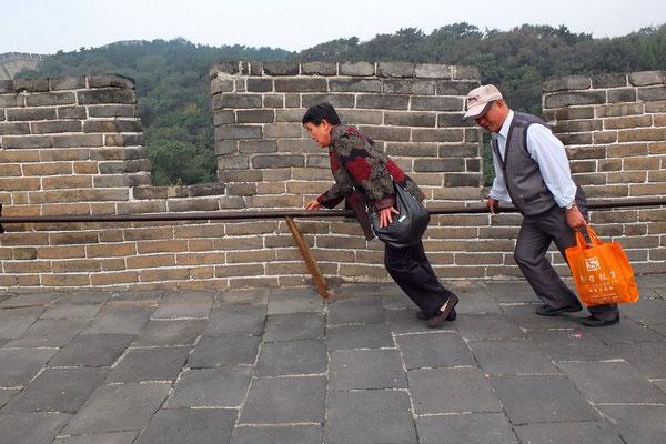 De muur bij Badaling is steil.