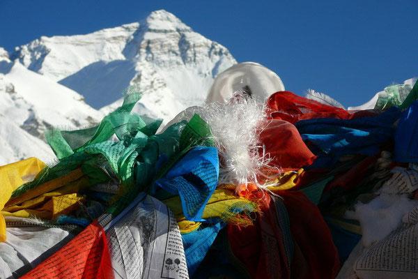 Mount Everest, met 8848 m. de hoogste berg ter wereld.
