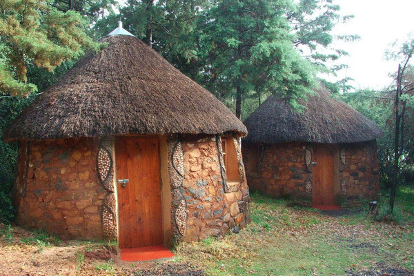 Een rondavel in Malealea, Lesotho