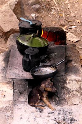 """Een hotdog warmt zich op bij het """"fornuis"""" in Copán, Honduras."""