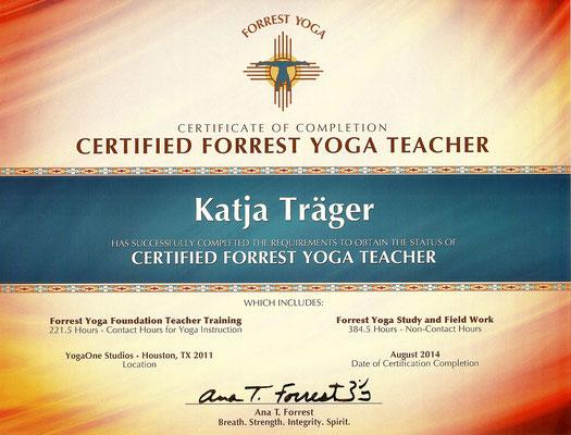Certificate Forrest Yoga Teacher