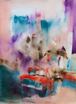 Sur la route, aquarelle sur papier montée sur châssis, 50x70cm