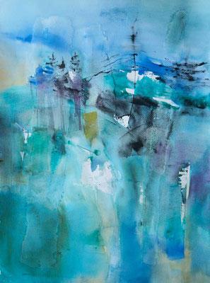 Filaire, aquarelle sur papier montée sur châssis, 50x70cm