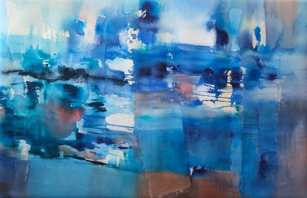 Reflet, aquarelle sur papier montée sur châssis, 65x100cm