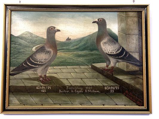Gemälde zweier Siegertauben aus 1927