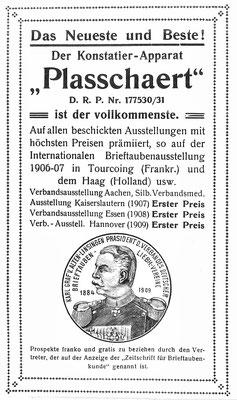 Anzeige der Firma Plasschaert, vermutlich um 1910