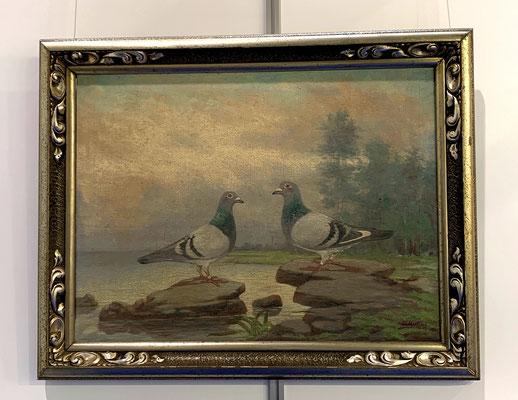 Zwei Siegertauben in Öl verewigt, es müssen also für den Besitzer sehr wichtige Tiere gewesen sein.