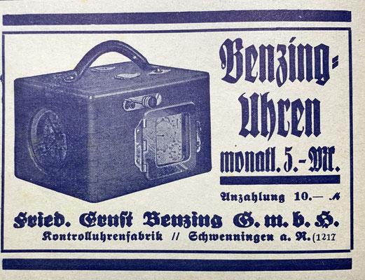 """Anzeige der Firma Benzing aus der """"Zeitschrift für Brieftaubenkunde"""" des Jahres 1936"""