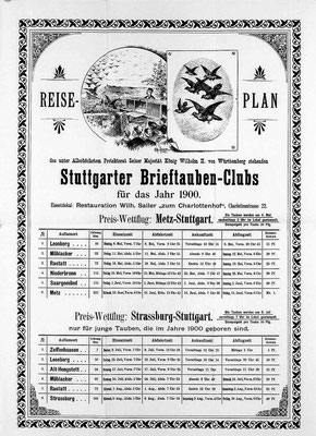 Reiseplan Stuttgarter Brieftauben-Club 1900 (Quelle: Landesarchiv Baden-Württemberg, Atl. Hauptstaatsarchiv Stuttgart, E 14 BÜ 1340 Bild 137)