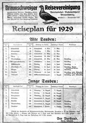 Reiseplan der Braunschweiger Reisevereinigung 1929