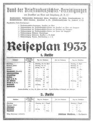 Reiseplan Bund der Brieftaubenzüchter-Vereinigungen 1933