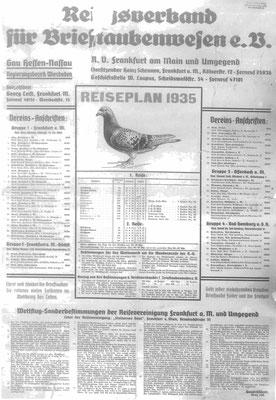 Reiseplan Reichsfachgruppe Brieftaubenwesen RV Frankfurt/ Main u. Umg. 1935