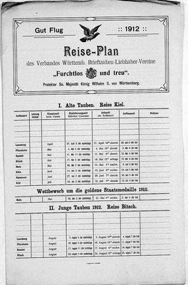 Reiseplan Verband Württ. Brieftauben-Liebhaber-Vereine 1912 (Quelle: Landesarchiv Baden-Württemberg, Atl. Hauptstaatsarchiv Stuttgart, E 14 BÜ 1340 Bild 276)