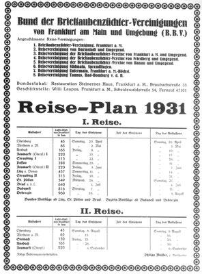 Reiseplan Bund der Brieftaubenzüchter-Vereinigungen 1931