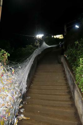 Am Anfang sind die Stufen noch Flach, werden sie zum Gipfel immer höher und steiler.