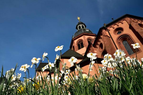 Die Basilika in Seligenstadt mit dem Engelsturm.