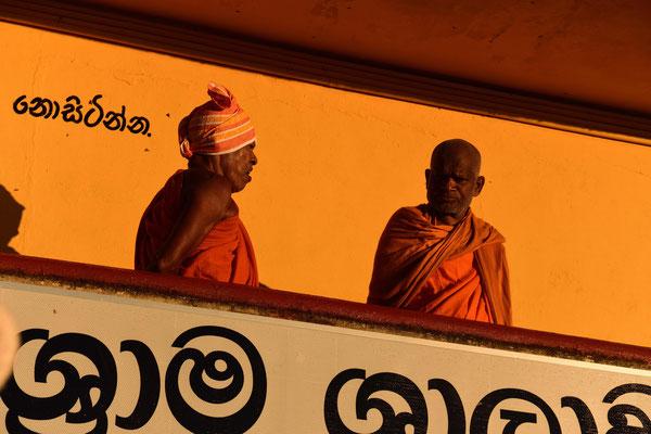 Die Mönche beobachten das Gedränge.