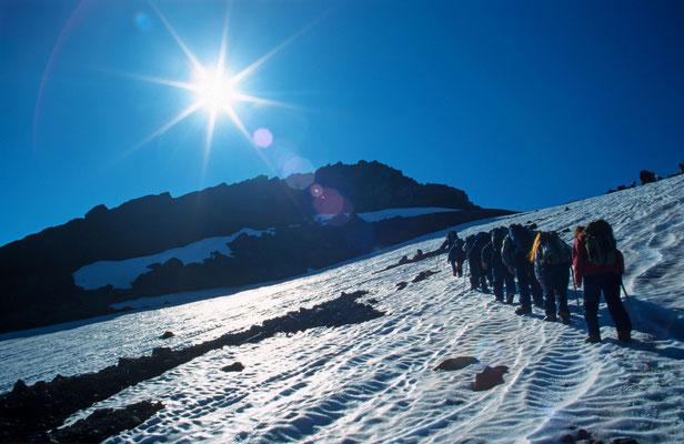 In Villarica in der Chilenischen Schweiz, buchten wir gleich eine geführte Tour auf den Vulkan Villarica.