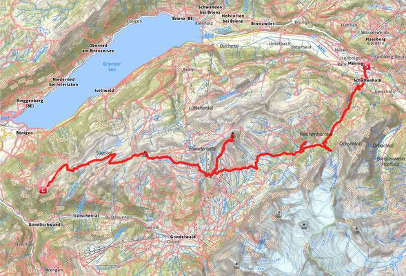 Route von Meiringen zur Schynigge Platte