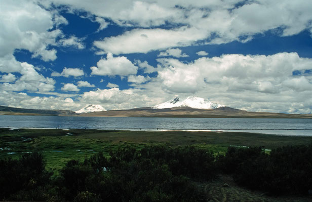 """Der """" Lago Chungara"""" au 4570 m Höhe, im Hintergrund der Parinacota und Pomerape."""
