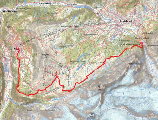 Route von Wengen nach Grindelwald