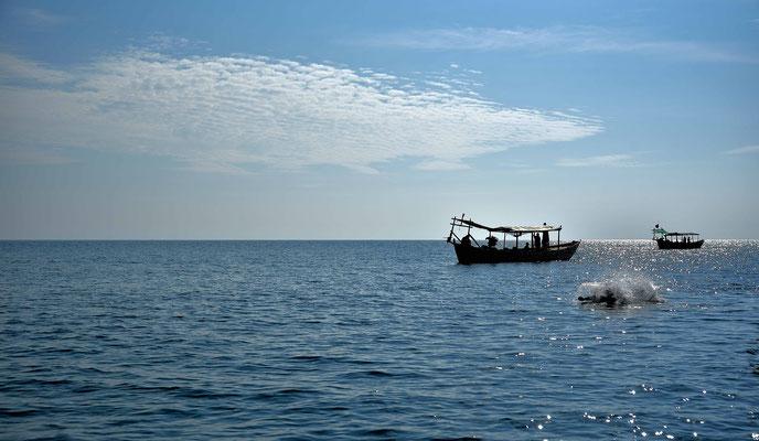 Wasser Spaß im Meer vor Sihanoukville