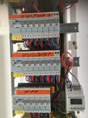 Tableau électrique en cours de raccordement