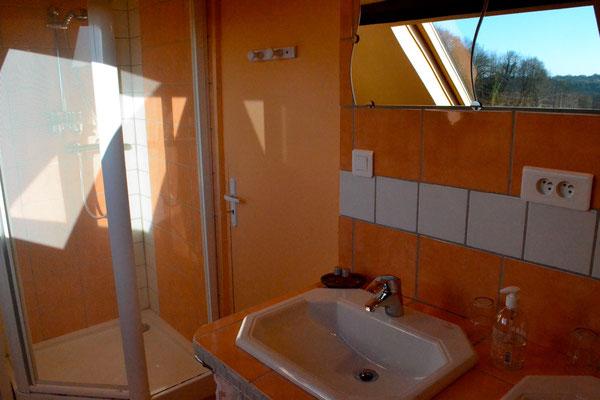 """La salle d'eau de la chambre """"Le Grenier"""" : une douche d'angle et deux vasques"""