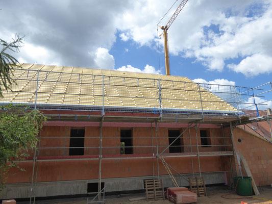 Neubau eines Einfamilienwohnhauses_Baiersdorf_Rohbau Dachstuhl