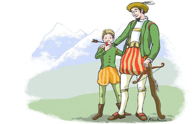"""Der Apfelschuss. Monatl. Illustration auf der Internetseite """"Baum des Jahres"""""""