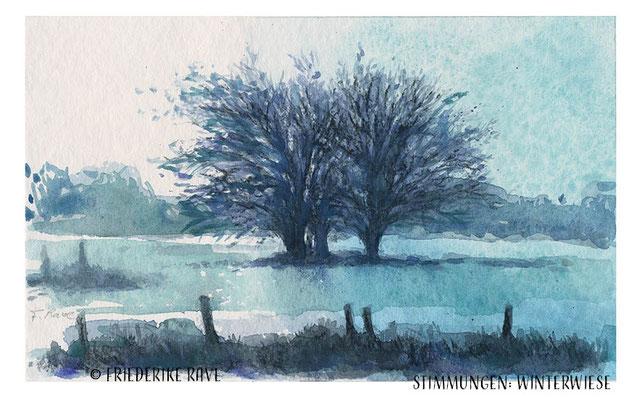 """""""Winterwiese"""" (Stimmungen) 2020 Mischtechniken auf Papier  (B 18 cm x H 11,3 cm)"""