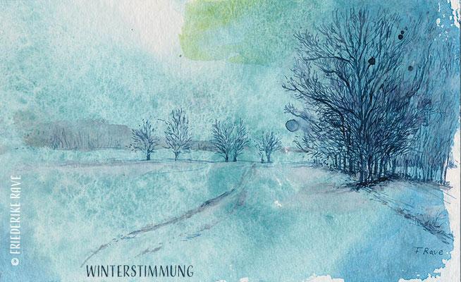 """""""Winterstimmung"""" (Stimmungen) 2020 Mischtechniken auf Papier  (B 18 cm x H 11,3 cm)"""