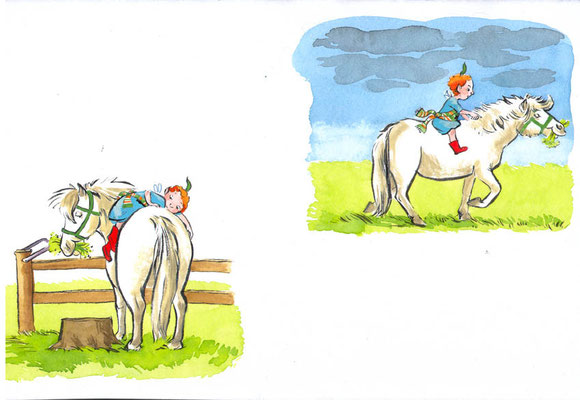 Die Elfe hat keine Lust sich so piekfein zu machen wie die anderen Elfen. Mit dem Pony Tinka nimmt sie Reißaus.