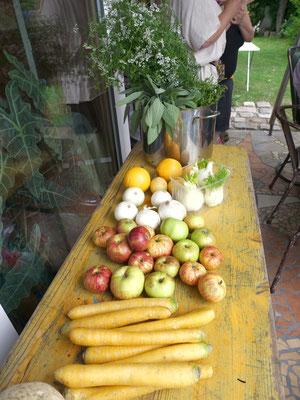 Zutaten für den heutigen Workshop: Fermentiertes Gemüse