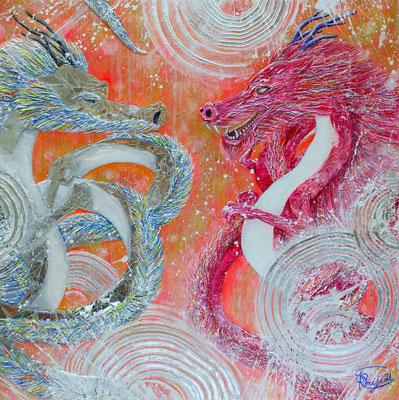 『 blessing 』acrylic, mixed media, mirror on canvas (53.0cm×53.0cm/S10)